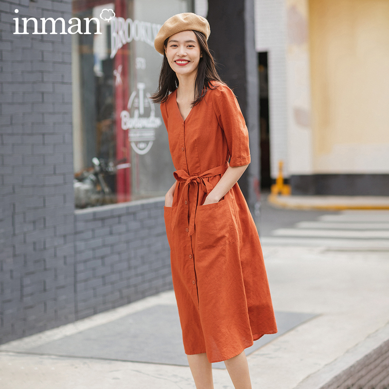INMAN 2020 Spring New Arrival Literary Cotton And Linen Material Medium Sleeve Lacing Mori Style Loose Dress