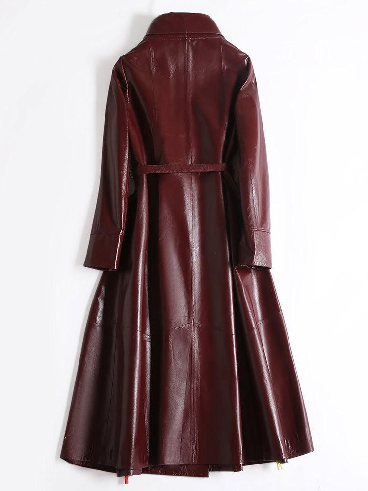 100% Real Leather Coat Female Streetwear Long Genuine Jacket Women Winter Clothes 2019 Sheepskin Coat + Belt Hiver 1908