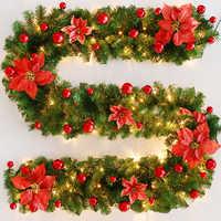 2,7 m/9ft guirnalda de Navidad ornamento guirnalda de pino Artificial árbol de Navidad decoración PVC 9ft 4 colores DIY decoración de Navidad Artificial para el hogar