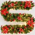 2.7 m/9ft natal guirlanda ornamento grinalda falso pinheiro decoração de natal pvc 9ft 4 cores diy casa decoração de natal artificial