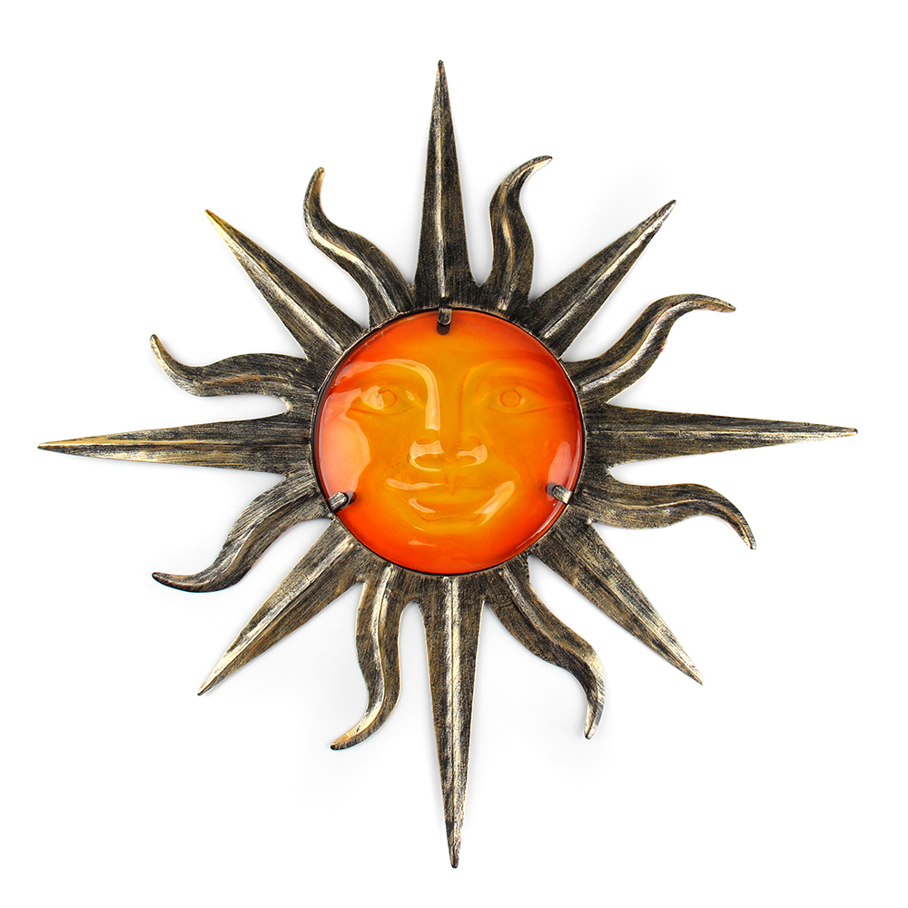 Garden Metal Sun Wall Decoration With Glass For Garden Decoration Outdoor Ornaments And Yard Decoration Miniatures Statues