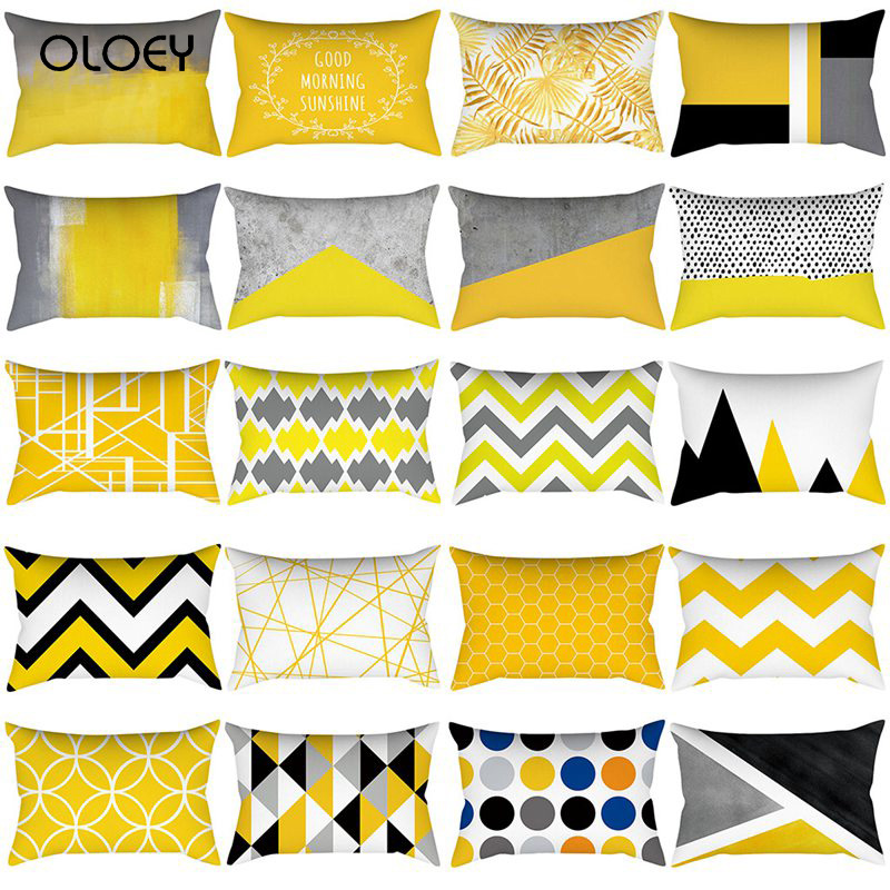 Pineapple Leaf Yellow Pillowcase Yellow Polyester Pillowcase Geometric Stripes Flower Elegant Decorative Pillowcase 30X50cm   ..