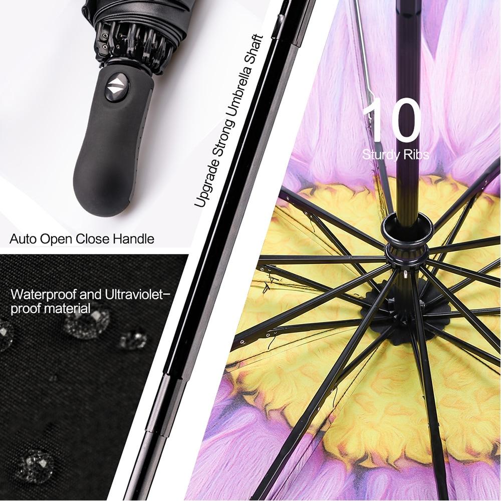 Image 2 - Reverse Folding Compact Travel Automatic Umbrella Inverted Inside Out Sun Rain Women Umbrella 10 Ribs Women's Unbrellas-in Umbrellas from Home & Garden