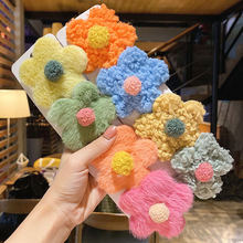 Осенне зимние детские милые мягкие заколки с цветами для волос
