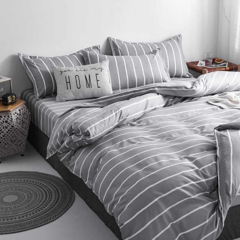 Denisroom Bedding Set Grey Queen Size Comforter Sets Simple Stripe