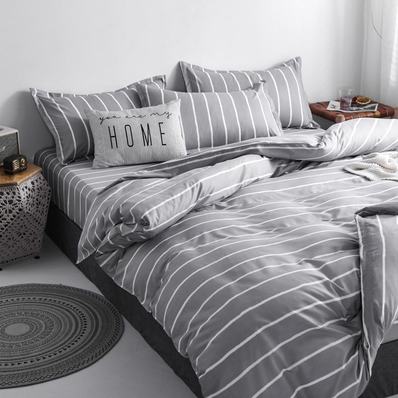 denisroom bedding set grey queen size comforter sets simple stripe duvet cover set ac01