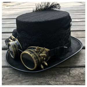 Image 2 - 2019 Fashion Women Handmade Steampunk Top Hat With Gear Glasses and Lace Stage Magic Hat Party Hat Size 57CM Steampunk Hat