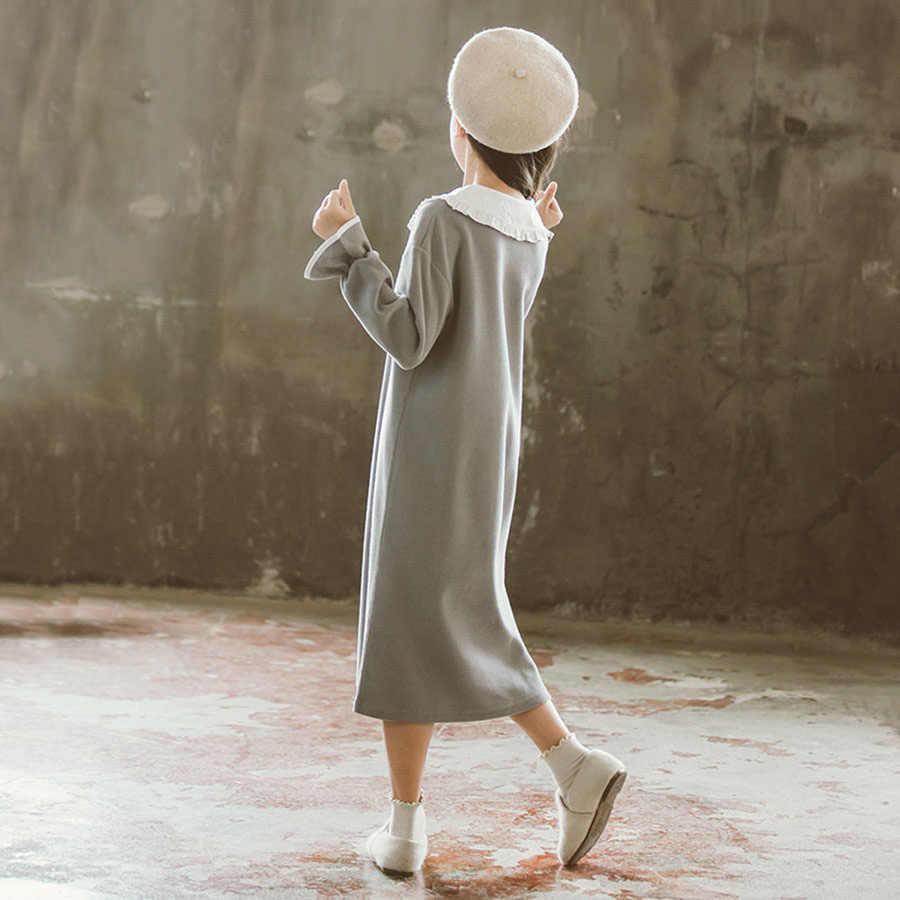 High street algodão flare camisola de manga longa meninas 4-11 ano lindo sólido plissado colarinho profundo v longo hoodies crianças primavera
