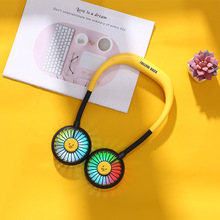Portable USB Mini Fan Neck Fan with Light Rechargeable Small Portable Sports Fan light Usb Desk Hand Air Conditioner cooler mini usb hand fan cooling portable fan led light air conditioner cooler adjustable speed heat rechargeable battery fans 200mm