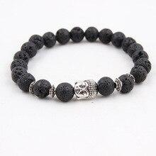Vulkanischen Lava Stein Gebet Buddha Männer Armband Schwarz Matt Tiger Auge Elastische Perlen Armbänder Paar Schmuck Pulseiras Masculina