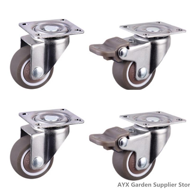 4 peças rodas rodízios móveis rodízios rodízios de borracha macia roda de rolo de prata para plataforma cadeira do trole do agregado familiar accessori-5
