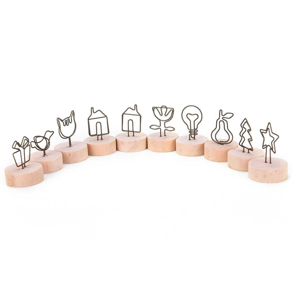 Novo 1 PC 9 estilos Naturais Pinça do Memorando de Madeira Clipes de Papel Foto Titular Clipe de Suporte De Madeira Pequenos Grampos Ornamento Casa decoração