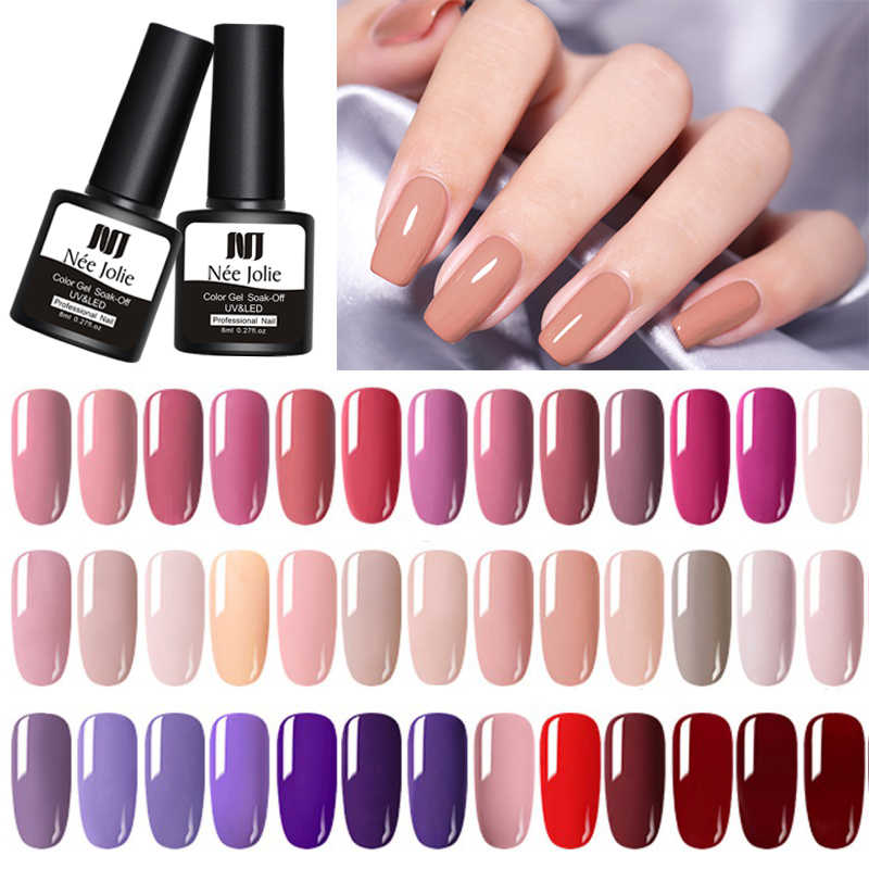 NEE JOLIE 8ml UV Gel Nail Polish Solid Nail Color Nail Art Paint Gel Soak Off UV Gel Varnish Base Coat No Wipe Top Coat