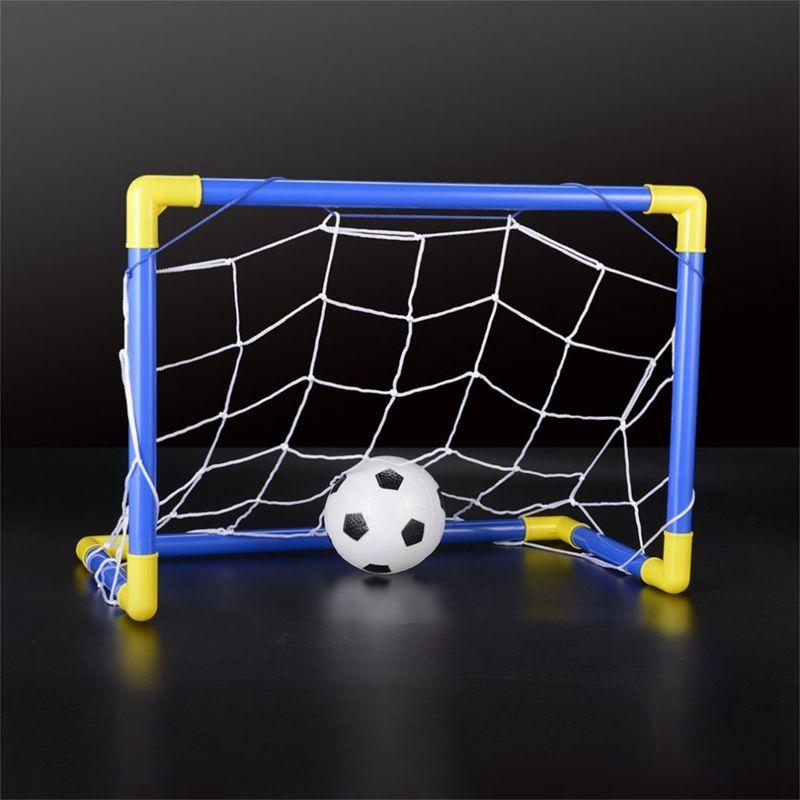 Indoor Mini Folding Football Soccer Ball Goal Post Net Set+Pump Kids Sport Outdoor Home Game Toy Child Birthday Gift Plastic