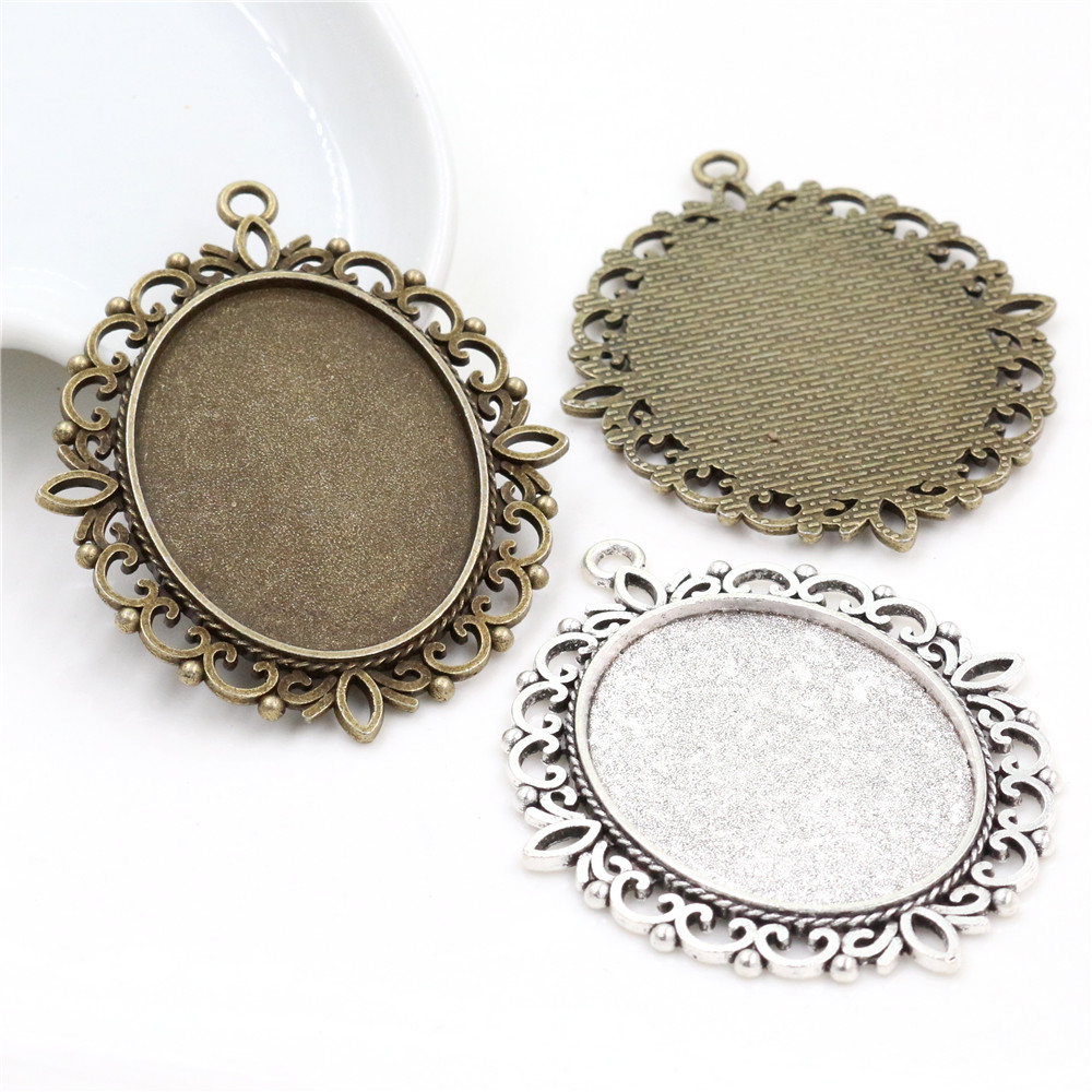 5pcs 30x40mm Inner Size Antique Silver Plated And Bronze Colors Plated Pierced Style Cabochon Base Setting Charms Pendant