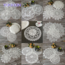11 pattern White flower Lace Round Embroidery table place mat Christmas pad Napkin placemat cup dish coaster tea doily kitchen