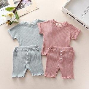 Комплект летней детской одежды, шорты для мальчиков и девочек, хлопковая детская одежда для сна, комплект удобной детской одежды, Ночной кос...