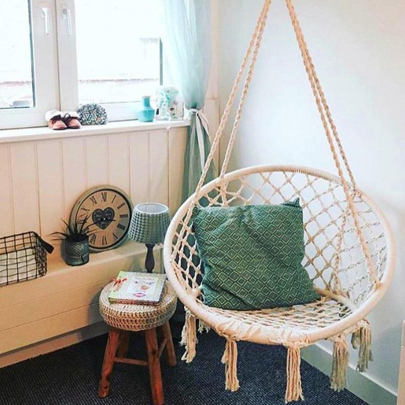 Safe Beige Hanging Hammock Chair Swing Rope Outdoor Indoor Bar Garden Seat Lazy Chair Collapsible Garden No Sticks Dropshipping