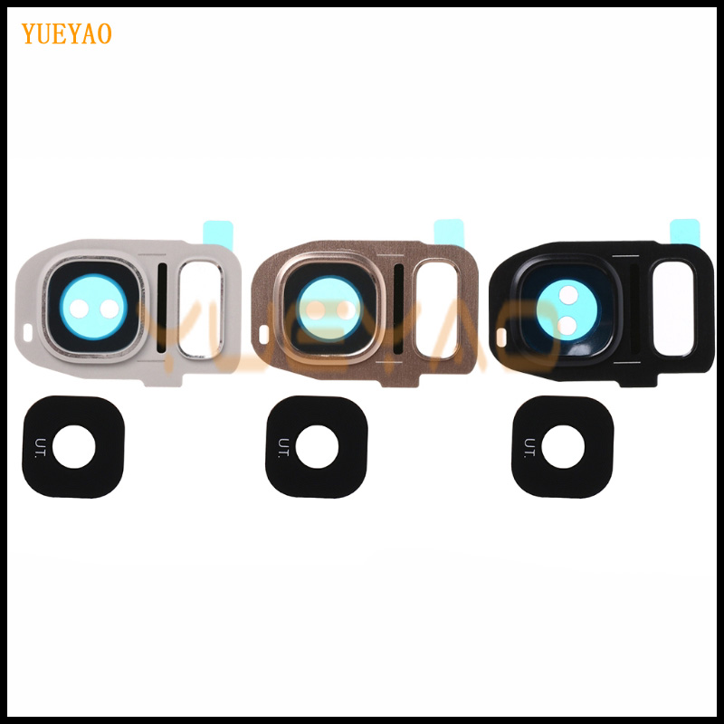 YUEYAO Back Rear Camera Frame Holder Glass <font><b>Lens</b></font> Cover Replacement For <font><b>Samsung</b></font> <font><b>Galaxy</b></font> <font><b>S7</b></font> G930F G930A <font><b>S7</b></font> Edge G935A G935F image