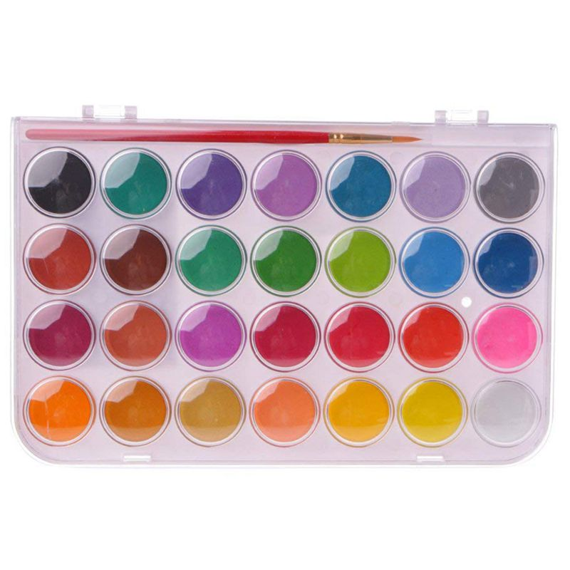 28Colors Solid Pigment Watercolor Painting Set Water Brush Pens (28)