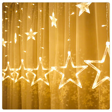 Fairy Curtain Lights Festoon Led String Lights Star Garland on Window Curtain Indoor Wedding Decoration Christmas Lights()