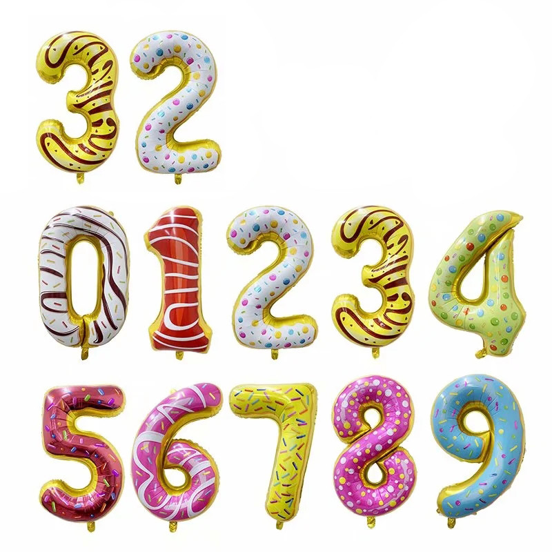 32Inch Donut Digital Foil Balloon Fruit Ice Cream Helium Balloon Birthday Party Decoration Kids Toy Sweet Digital Balloon Showe