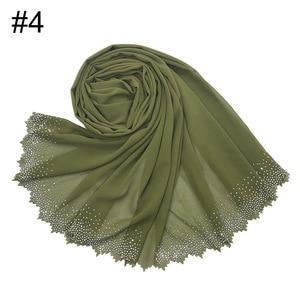 Image 5 - Новинка, популярный шифоновый платок мусульманский, хиджаб, длинный платок с бриллиантами и жемчугом, малайзийская шаль