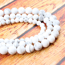 Frosted White Pine Natural Stone Bead Round Loose Spaced Beads 15 Inch Strand 4/6/8/10/12mm For Jewelry Making DIY Bracelet