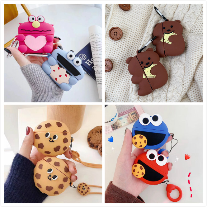 Wireless Bluetooth Earpods Case For Airpods Pro Case Silicone Cartoon Cookie Cover For Apple Air Pods Pro 3 Cases With Keychain