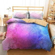 King Bedding Clothes Home Textiles Dream Colorful Mandala Printed Duvet Cover with Pillowcases for Adult Double Size bedding clothes home textiles dream dark purple mandala printed duvet cover with pillowcases for adult queen double size