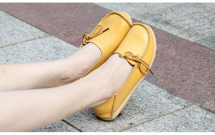 AH 911-2019 Spring Autumn Genuine Leather Women Loafers Walking Mother Flats-2