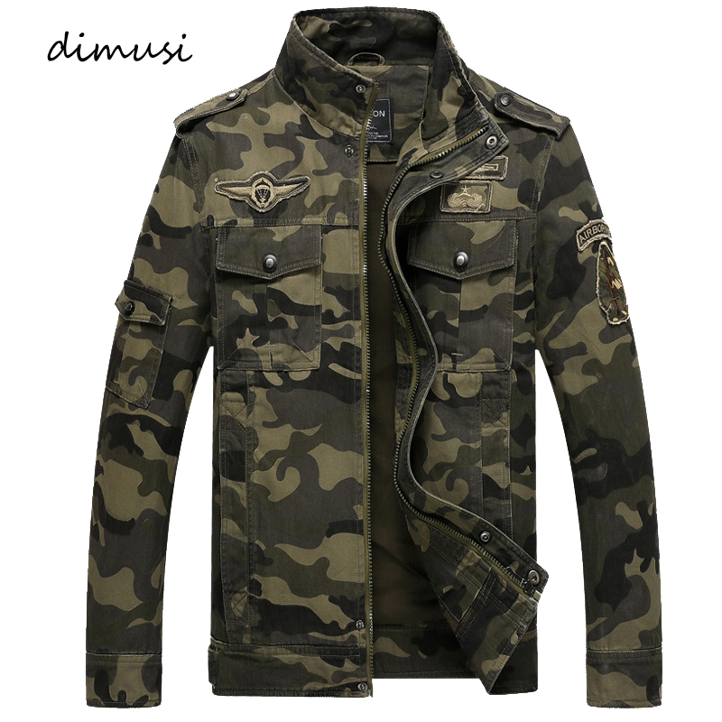 DIMUSI Autumn Mens Bomber Jackets Casual Man Camouflage Army Military Coats Mens Slim Outwear Windbreaker Jackets Clothing