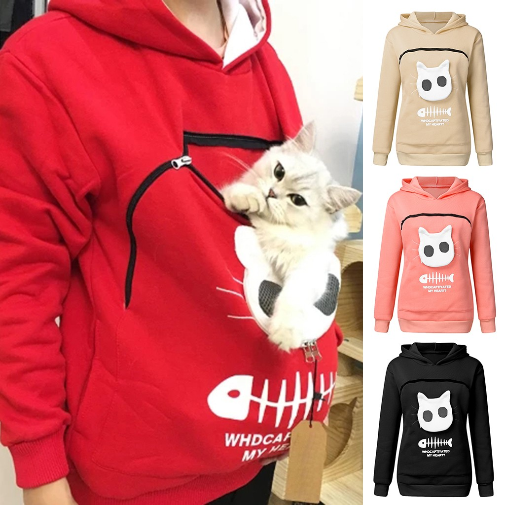 2019 Winter Women Hooded Sweatshirts Women's Sweatshirt Animal Pouch Hood Tops Carry Cat Breathable Pullover Sweatshirts