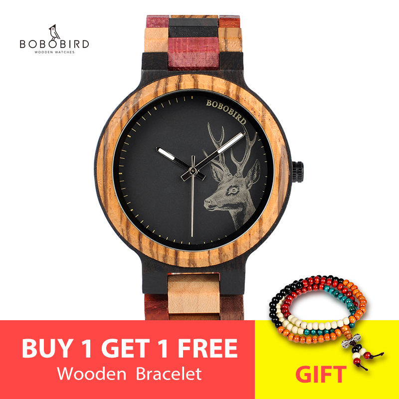 BOBO BIRD Bamboo Wooden Watches Women Elk Wrist Watch Deer Quartz Ladies Relojes Para Mujer In Gifts Box Erkek Kol Saati