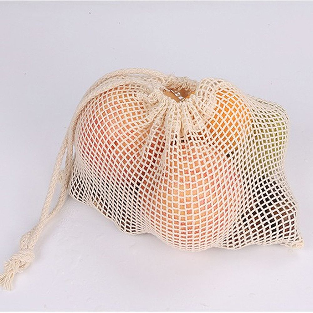 1Pcs Reusable Mesh Vegetable Bags Popular Cotton Fruit And Vegetable With Drawstring Kitchen Storage Bags Machine Washable in Bags Baskets from Home Garden