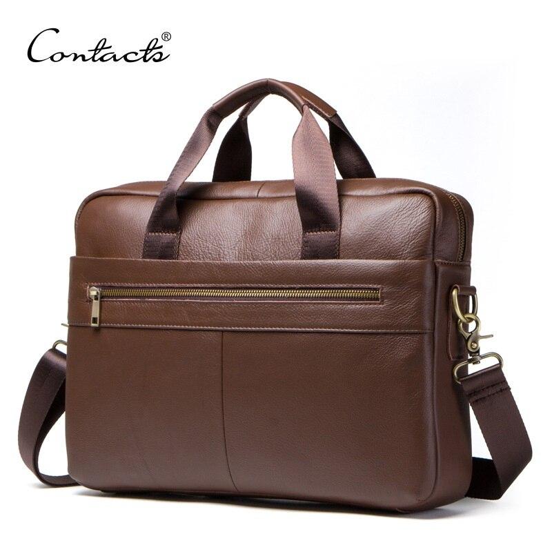 Men's Genuine Leather Briefcase Male Messenger Bag Shoulder Bag Crossbody Bag For 14