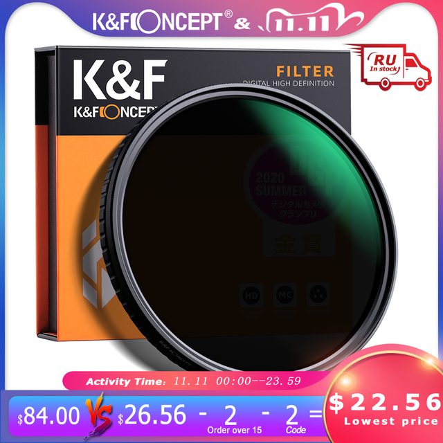 "K&F Concept 55mm 58mm 62mm 67mm 77mm Fader ND Filter Neutral Density Variable Filter ND2 to ND32 for Camera Sony Lens NO""X"" Spot"