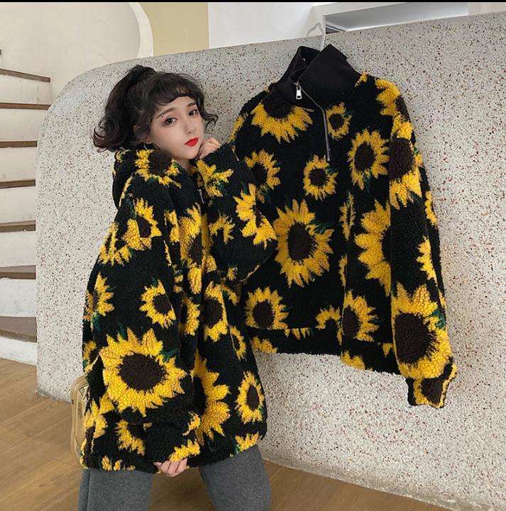 2020 Autumn & Winter New Arrival Imitation Lamb Loose Stand Collar Chrysanthemum Hooded Long-sleeved Sweatshirt Free Shipping