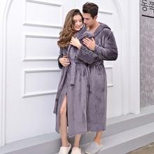Flannel Bathrobe Women Warm Hooded Robe Ladies Casual Kimono Bath Robes Dressing Gowns