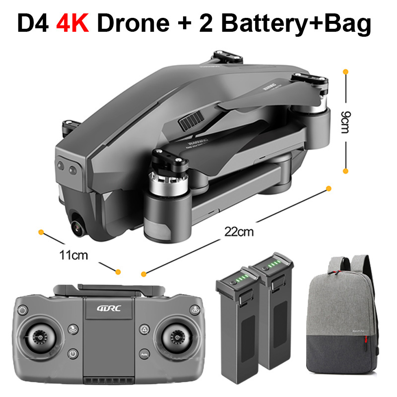D4 RC Drone with 4K HD Camera 5G GPS Quadcopter FPV 600M WiFi Live Video 1.6KM Control Distance Flight 30 minutes Helicopter Toy