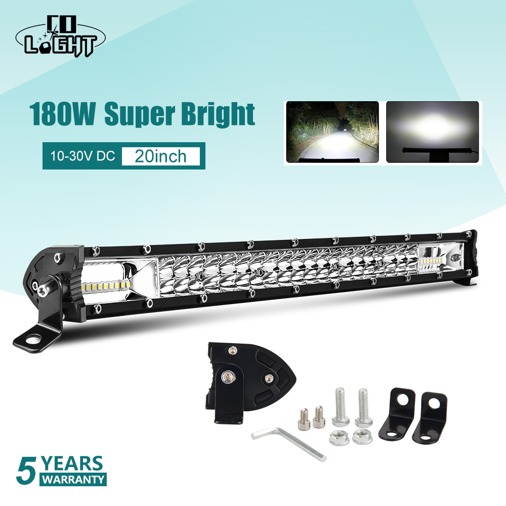 CO LIGHT Super Brighter 12D Offroad Led Light Bar 60W 180W 300W Combo Beam Work DRL for ATV UAZ 4x4 SUV Trucks Tractor