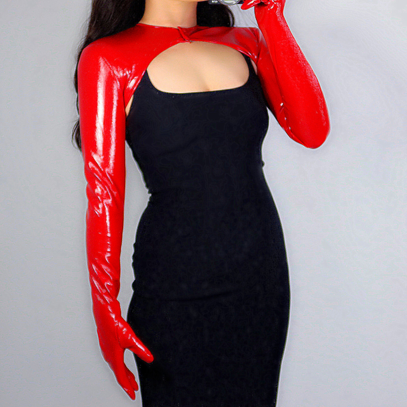 New 2020 LATEX BOLERO GLOVES Shine Leather Faux Patent Red Top Jacket Cropped Shrug Women Long Leather Gloves WPU227