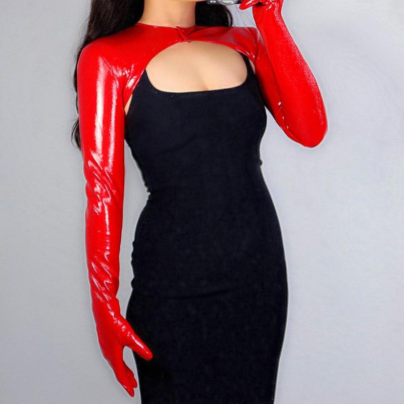 Новинка 2020, латексные перчатки-болеро, блестящие кожаные перчатки из искусственной лакированной кожи с красным верхом, укороченные женские...