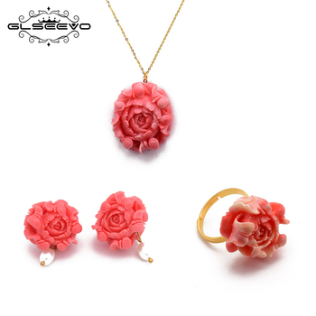GLSEEVO Original Design Pink Coral Necklace Ring Stud Earrings Sets For Girls Birthday Women's Enthic Jewellery Set Femme GB0184