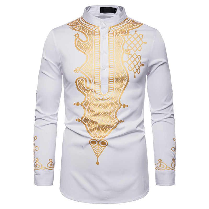 白人男性アフリカ服 2019 ファッションアフリカ Dashiki プリントドレスシャツ男性スリムフィット長袖カミーサソーシャル Masculina XXL