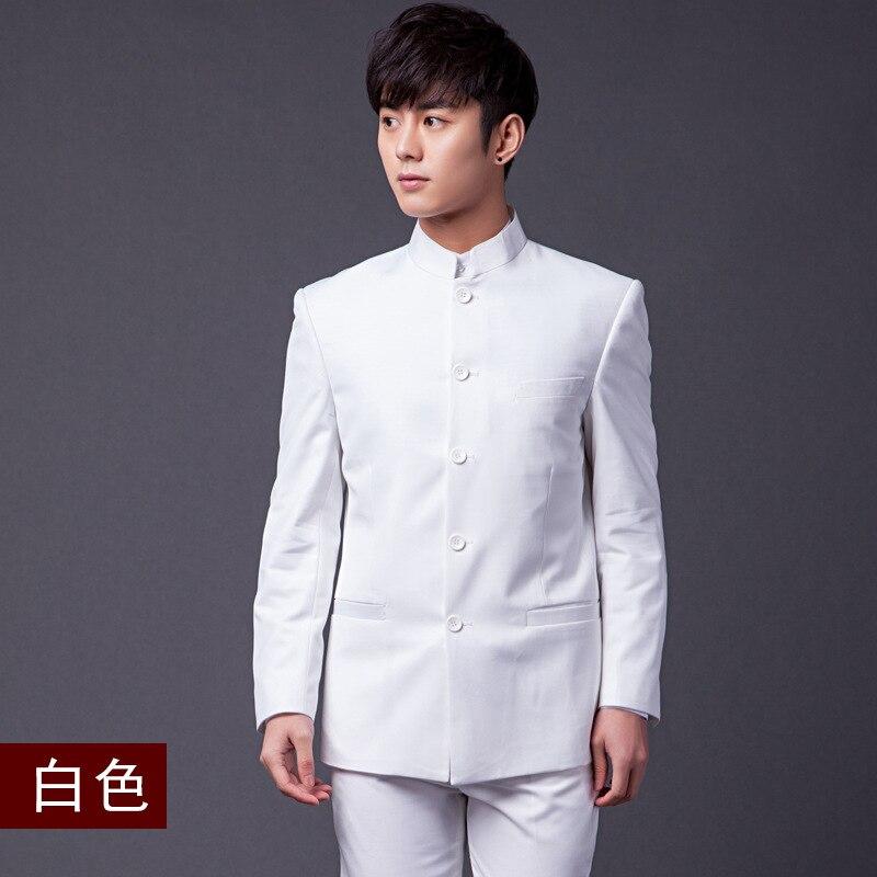 4XL Hohe Qualität Chinesischen Stil Slim Fit Männer Stehen Tunika Kragen Kleid Anzug Hochzeit Bräutigam Bühne Zeigen Nation Kostüm Solide weiß - 5