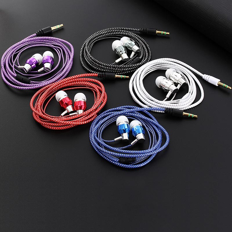 Fashion Braided Headset Durable Wired Earphone With Microphone Portable Audio And Video Device For samsung huawei xiaomi
