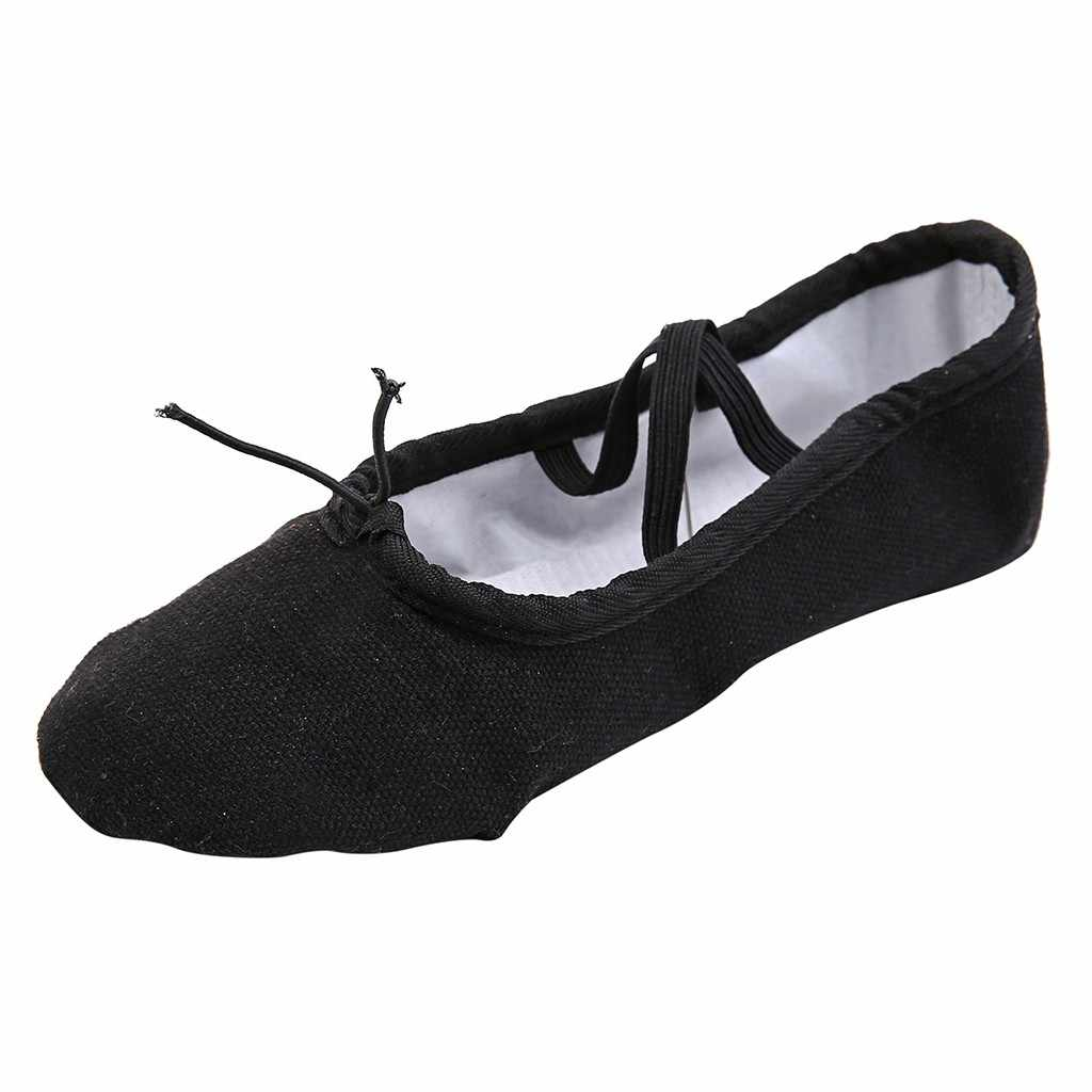 Bale Terlik Kızlar Klasik Split-Sole Tuval Dans Jimnastik Bebek Yoga Ayakkabıları Daireler Çocuk dans ayakkabısı Kadın Balerin
