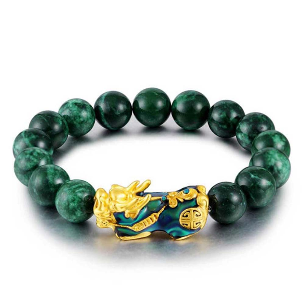Green Jade Bracelet Stone Golden Pixiu Charm Color Changing For Men GDD99