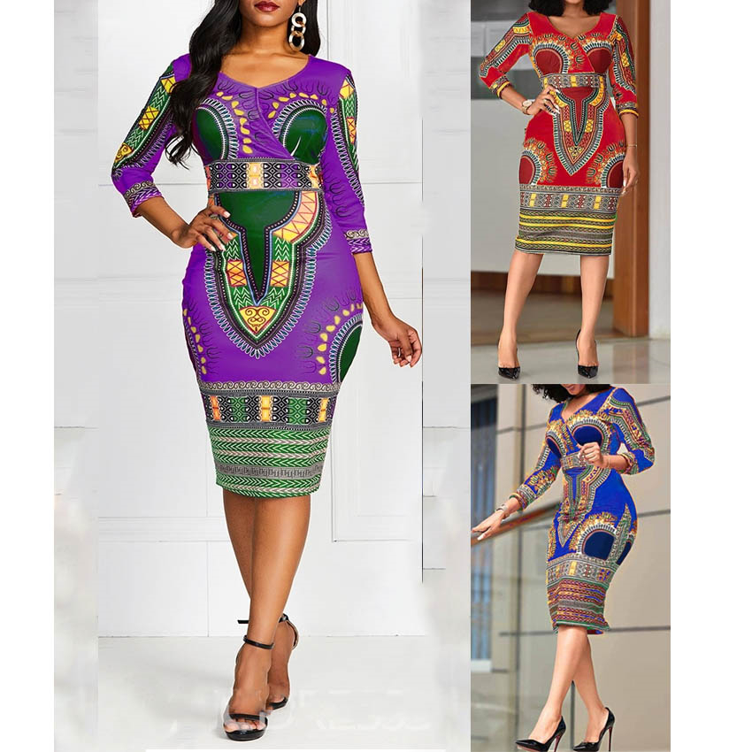 African Dresses for Women Dashiki Print 2020 Ladies Dress Fashion V-neck Clothes Sexy Robe Africaine dress african clothing